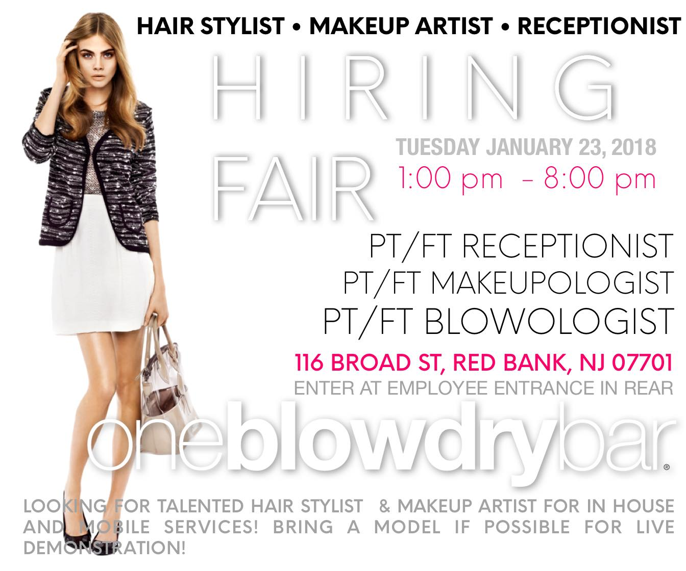Red Bank's blow dry bar are hiring new hair stylist for their oneblowdrybar